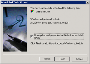 Windows 2003 Task Wizard Finish
